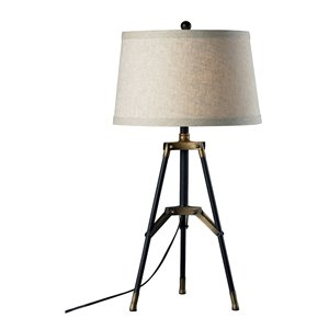 Elk Home Functional Tripod Table Lamp - Black/Aged Gold