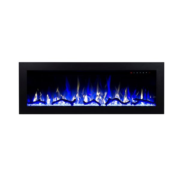 Flamehaus Electric Fireplace Insert - LED Lights - 47.75-in - Black