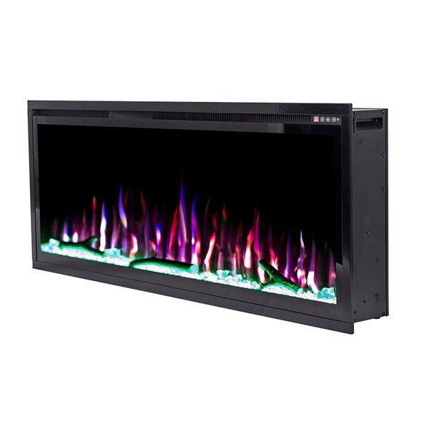 Foyer électrique encastrable Flamehaus avec lumières DEL, 57,75 po, noir