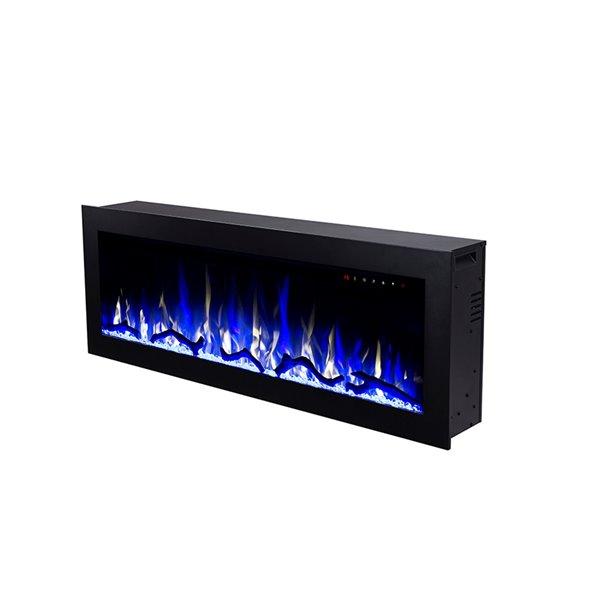 Foyer électrique encastrable Flamehaus, lumières DEL, 69,75 po, noir