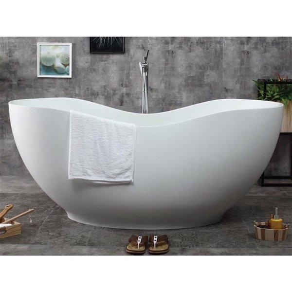 Bouticcelli Corian Stone Bathtub - 65-in x 31-in - White