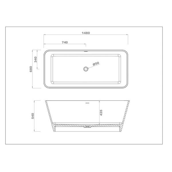 Bouticcelli Corian Stone Bathtub - 58-in x 21-in - White