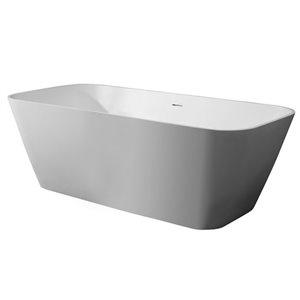 Bouticcelli Corian Stone Bathtub - 67-in x 31-in - White
