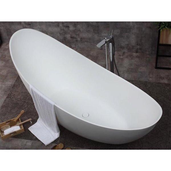 Bouticcelli Corian Stone Bathtub - 73-in x 30-in - White