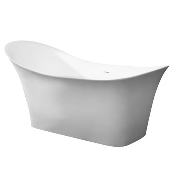 Bouticcelli Corian Stone Bathtub - 74-in x 34-in - White