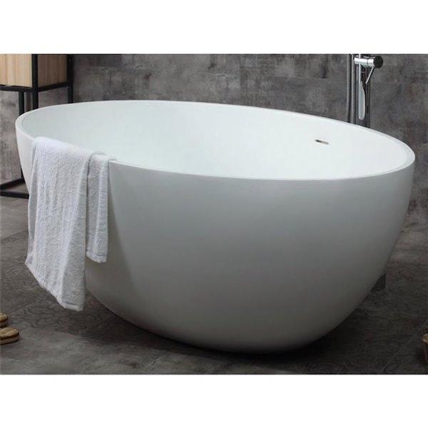 Bouticcelli Corian Stone Bathtub - 66-in x 39-in - White