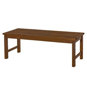 Walker Edison Acacia Wood Outdoor Patio Bench - Dark Brown