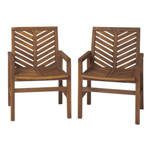 Walker Edison Patio Wood Chairs - Set of 2 - Dark Brown