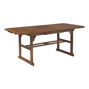 Walker Edison Acacia Wood Patio Butterfly Table - Dark Brown
