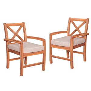 Walker Edison Outdoor Patio Chairs with Cushions - 2 Pieces - Wood