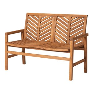 Walker Edison Patio Wood Bench - 48-in - Brown