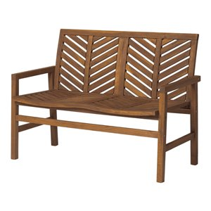 Walker Edison Patio Wood Bench - 48-in - Dark Brown