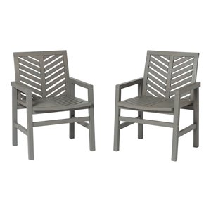 Walker Edison Outdoor Chevron Chair - Set of 2 - Grey Wash