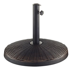 Walker Edison Wicker Style Round Umbrella Base - Antique Bronze