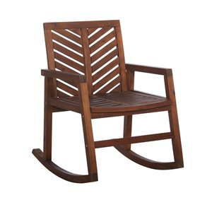 Walker Edison Outdoor Chevron Rocking Chair - Dark Brown