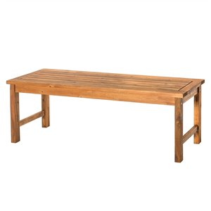 Walker Edison Acacia Wood Patio Bench - Brown
