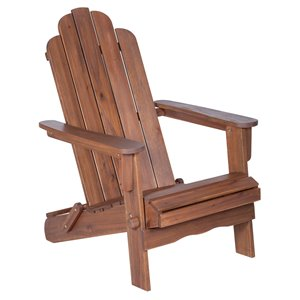 Walker Edison Acacia Wood Outdoor Adirondack Chair - Dark Brown