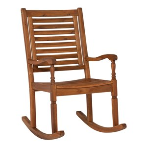 Walker Edison Acacia Wood Outdoor Rocking Chair - Brown