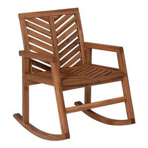 Walker Edison Outdoor Chevron Rocking Chair - Brown