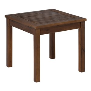 Walker Edison Patio Wood Side Table - Dark Brown