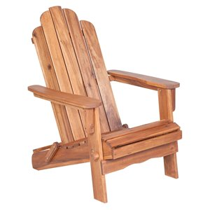Walker Edison Acacia Wood Outdoor Adirondack Chair - Brown