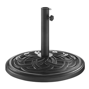 Walker Edison Circle Weave Round Umbrella Base - Black
