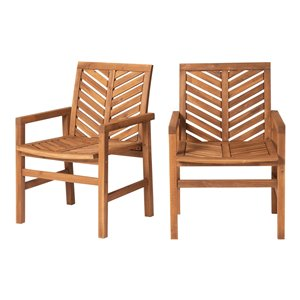 Walker Edison Patio Wood Chairs - Set of 2 - Brown