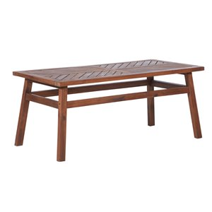 Walker Edison Wood Patio Table - Dark Brown