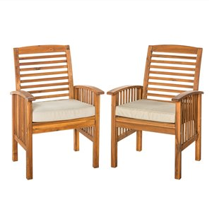 Walker Edison Acacia Patio Chairs with Cushions - Set of 2 - Brown