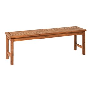 Walker Edison Modern Patio Dining Bench - 53-in - Brown