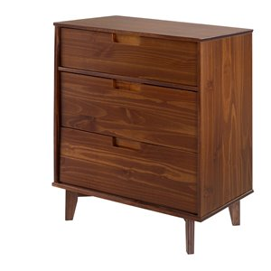 Walker Edison 3-Drawer Mid Century Modern Dresser - Walnut