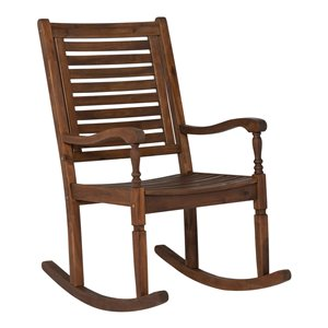 Walker Edison Acacia Wood Outdoor Rocking Chair - Dark Brown