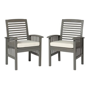 Walker Edison Acacia Wood Patio Chairs with Cushions - Set of 2 - Grey Wash