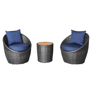 Allspace 3-Piece Barrel Shape Metal Patio Set with Storage Cover - Indigo - Sunbrella Cushion(s) Included
