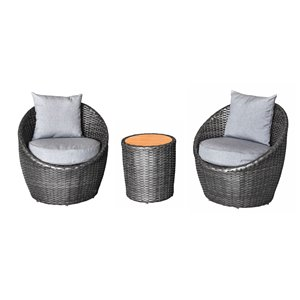 Allspace 3-Piece Barrel Shape Metal Patio Set with Storage Cover - Cast Slate - Sunbrella Cushion(s) Included