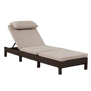 Chaise longue Laura de Patioflare, osier brun chocolat