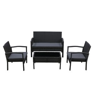 Patioflare Ivan 4-Piece Conversation Set - 3 Cushions - Black and Gray
