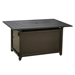 Paramount Gale Rectangle Aluminum Convertible Fire Table - 30.71-in - 50,000 BTU - Bronze