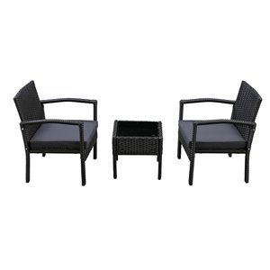 Patioflare Melody 3-Piece Chat Set - 2 Cushions - Black