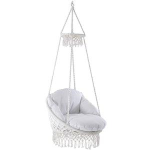 Chaise suspensue en macramé de Vivere, Blanc