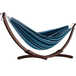 Vivere Double Hammock - Cotton - with Solid Pine Arc Stand - Blue Lagoon
