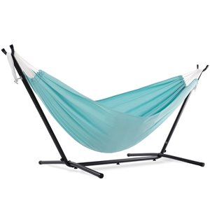 Vivere Double Hammock - Polyester - with Stand - Aqua