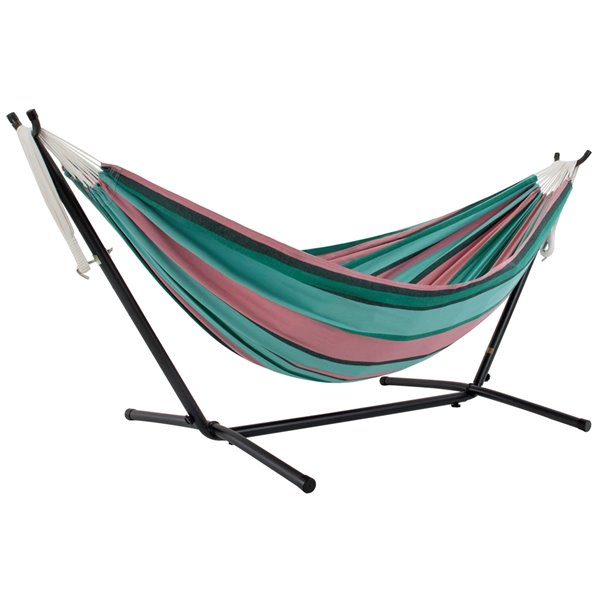 Vivere Double Hammock - Cotton - with Steel Stand and Carry Bag - Watermelon