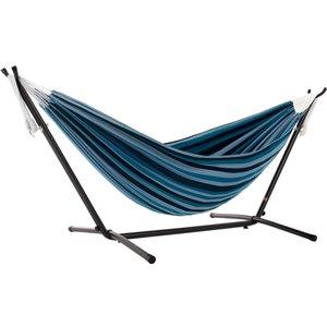 Hamac double en coton de Vivere avec support en acier et sac de transport, Blue Lagoon