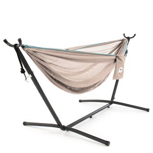 Vivere Double Mesh Hammock - Mesh - with Stand - Sand/Sky