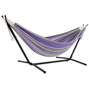 Vivere Double Hammock - Cotton - with Steel Stand and Carry Bag - Tranquility