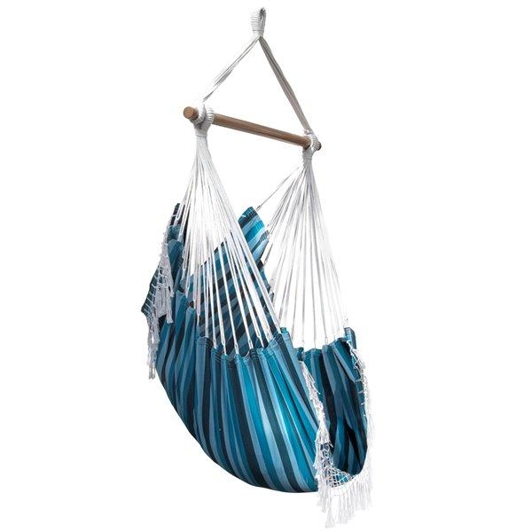Chaise hamac brésilienne en coton de Vivere, Blue Lagoon