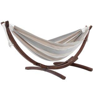 Hamac double Sunbrella de Vivere avec support en pin massif, Dove
