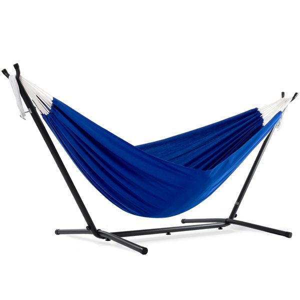 Vivere Double Hammock - Polyester - with Stand - Royal Blue