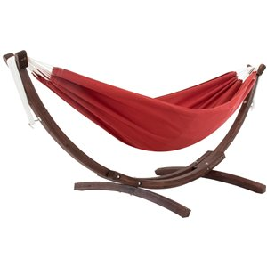 Hamac double Sunbrella de Vivere avec support en pin massif, Crimson